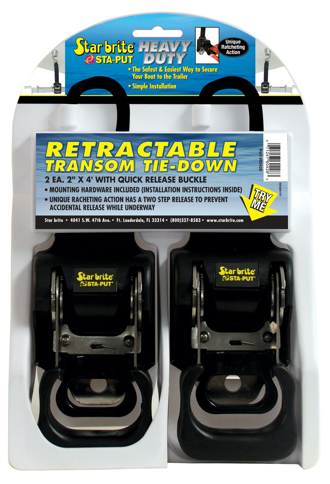 Star brite 060428 Heavy Duty Retractable Transom Tie-Down with Quick Release Buckle by Star Brite