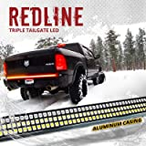 """OPT7 60"""" Redline Triple LED Tailgate Light Bar w/Sequential Amber Turn Signal - 1,200 LED Solid Beam - Weatherproof No Drill Install - Full Function Reverse Brake Running 2yr Warranty"""