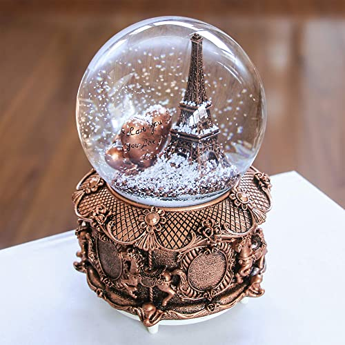 QTKJ Paris Snow Musical Globe with Color Changing LED Lights, Eiffel Tower Snow Globe with Merry-go-Round Base, 100mm 6 Tall Souvenirs Collection Gold