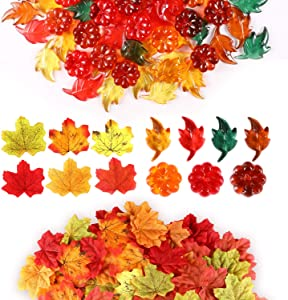 WILLBOND 310 Pieces Thanksgiving Leaves Table Scatter Mini Acrylic Leaves Acrylic Pumpkins Artificial Maple Leaves for Thanksgiving Christmas Party Decoration Supplies