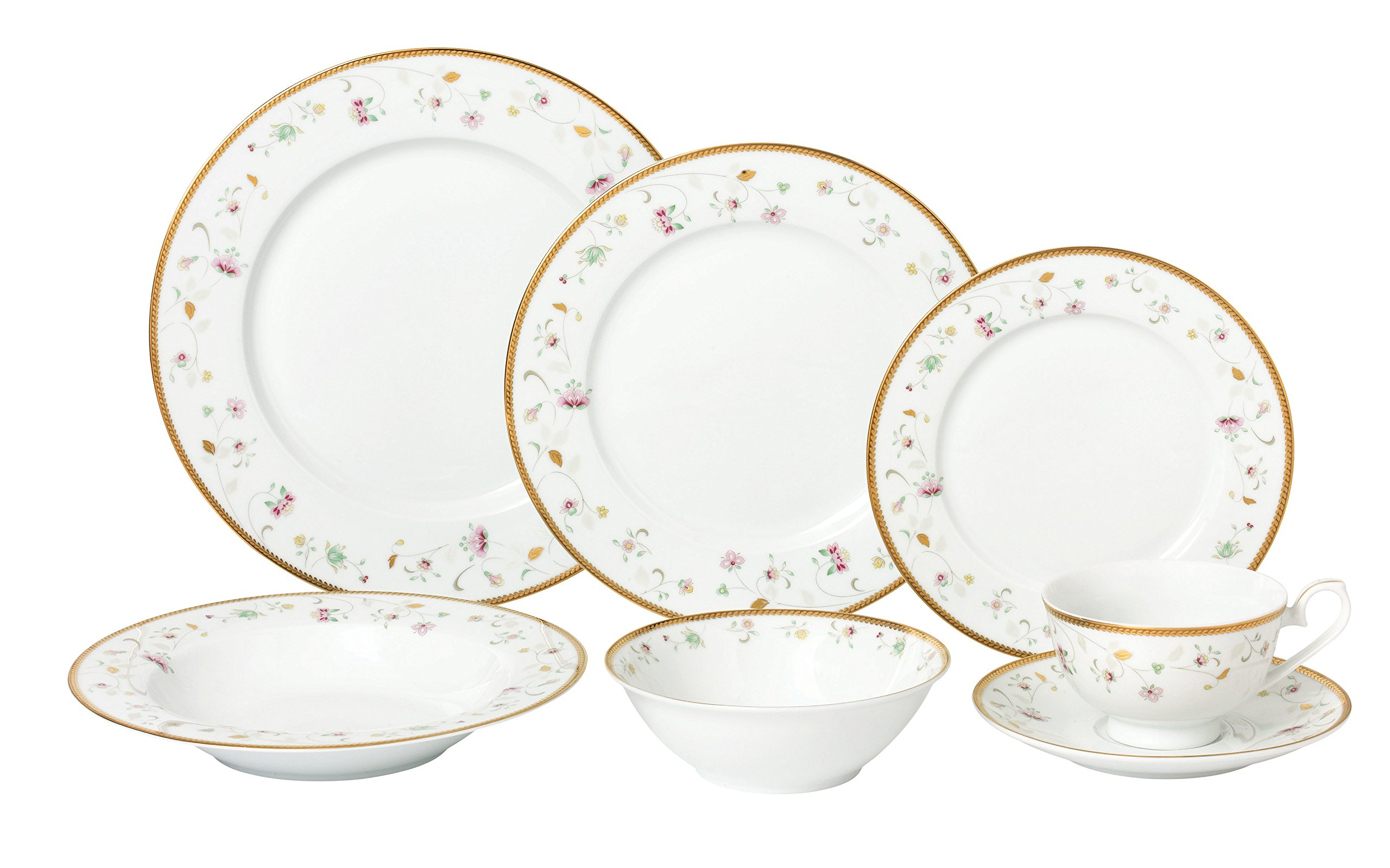 Lorren Home Trends 28 Piece 'Greta' Bone China Dinnerware Set (Service for 4 People), Gold