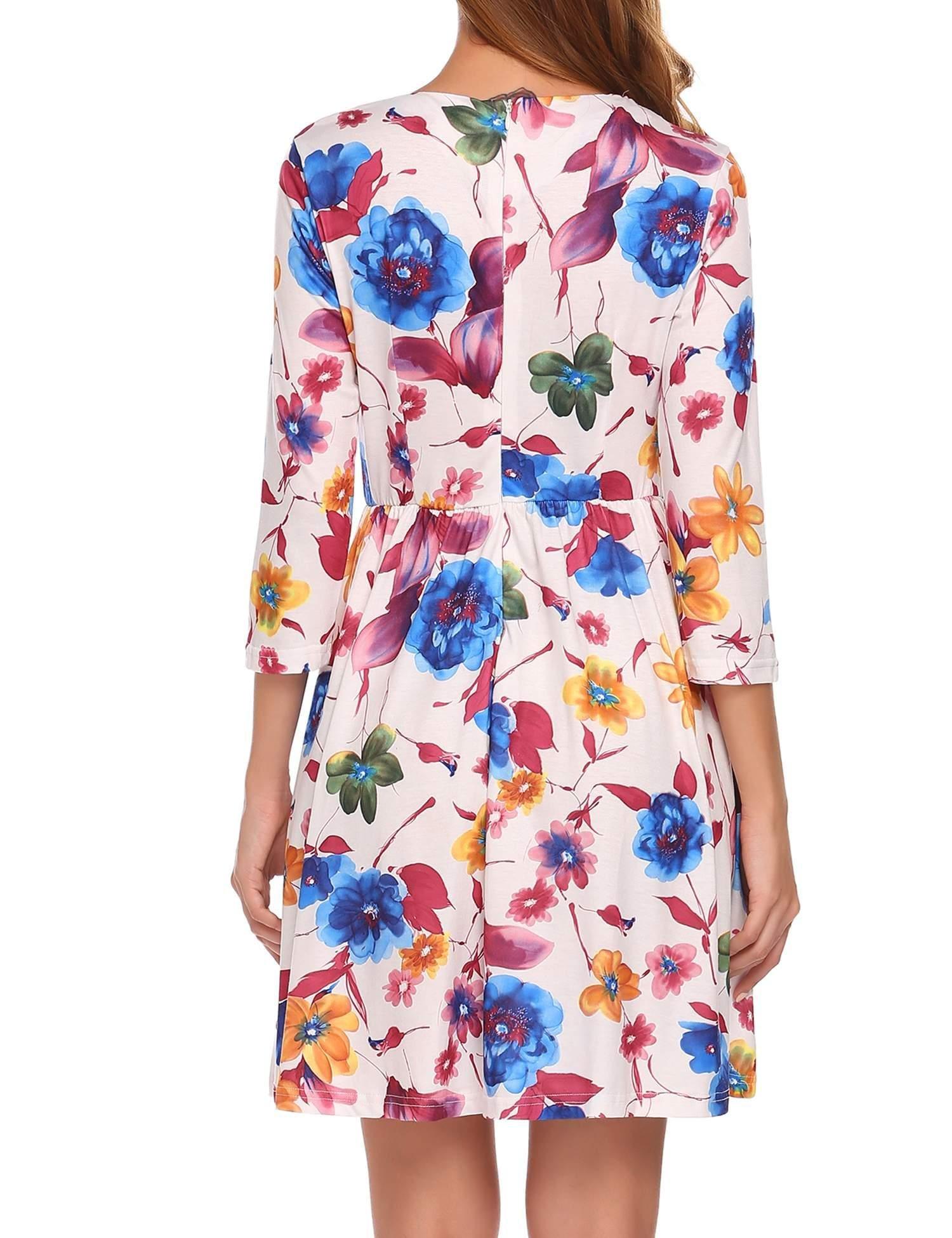 Misakia Women\'s 3/4 Sleeve Floral Print Party Short Dress White,XXL