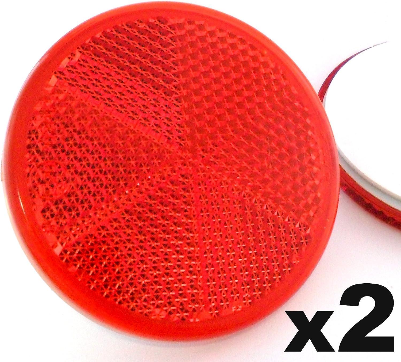 2x Rote Reflektoren 50mm Rückstrahler Katzenaugen Rückleuchten Selbstklebend Wohnwagen Und Anhänger Kostenloser Versand Auto