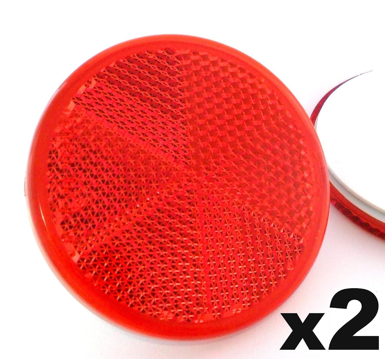 2x Rote Reflektoren 50mm - Rü ckstrahler Katzenaugen Rü ckleuchten Selbstklebend -Wohnwagen und Anhä nger - Kostenloser Versand! Auto Reflektoren