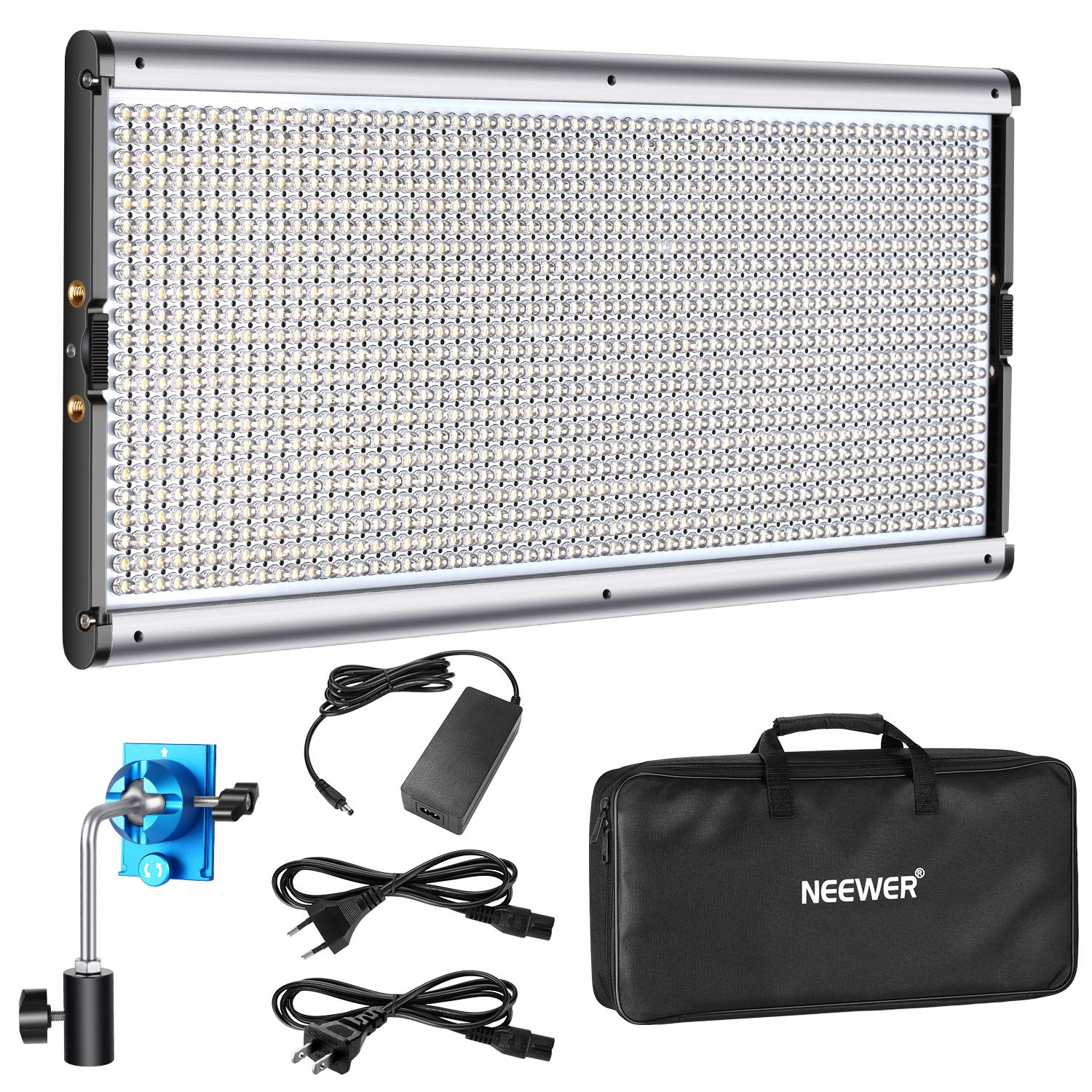 Neewer Dimmable LED Video Light Photography LED Lighting with Metal Frame 1320 LED Beads 3200-5600K, DC Adapter/Battery Power Options for Studio Portrait Product Video Shooting (Battery Not Included) by Neewer