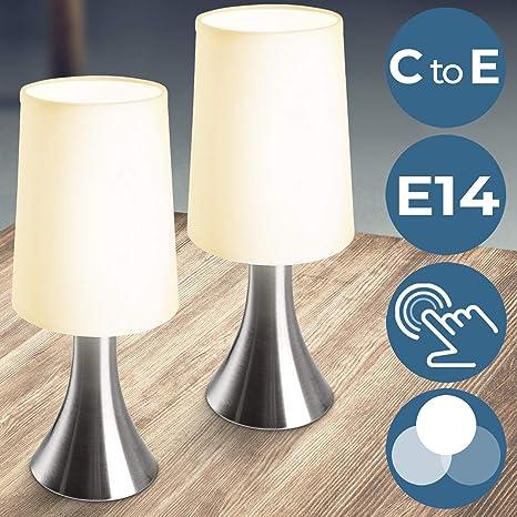 Lámparas de Mesa Táctiles 3 Intensidades de Luz - CEE: C a E, Juego de 1 o de 2 piezas, E14 - Lámparas de Noche, Lámpara de Escritorio, de Trabajo, de ...