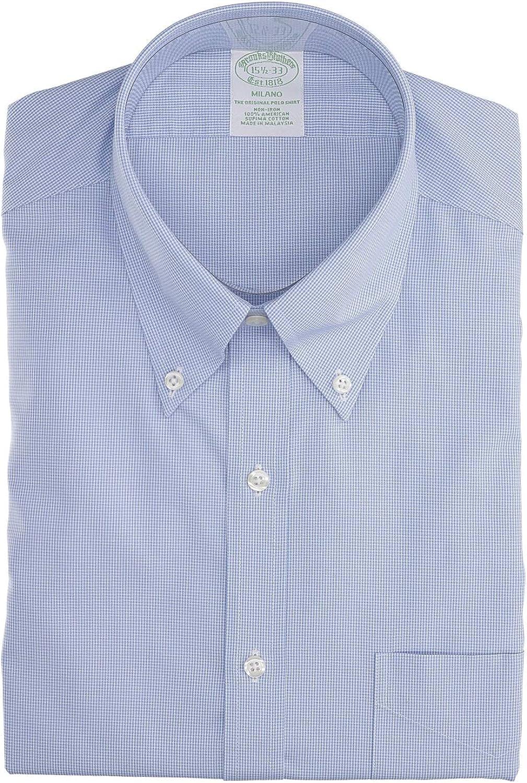 BROOKS BROTHERS Mod. 146662 Camisa Milano Popelina Vichy Non-Iron Hombre Azul Claro 38: Amazon.es: Ropa y accesorios