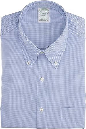 BROOKS BROTHERS Mod. 146662 Camisa Milano Popelina Vichy Non-Iron Hombre Azul Claro 42: Amazon.es: Ropa y accesorios