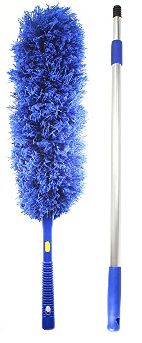 ceiling fan duster with extension pole. jet clean microfiber hand duster-feather dust appliances, ceiling fans, blinds, furniture fan duster with extension pole b