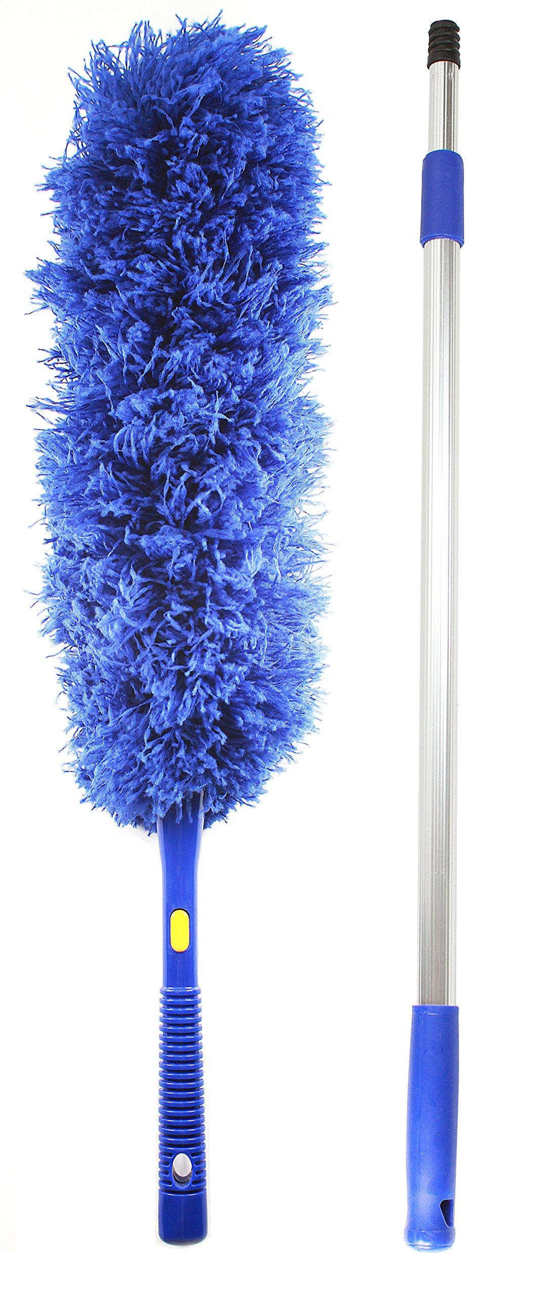 Jet Clean Microfiber Hand Duster-Feather Dust Appliances, Ceiling Fans, Blinds, Furniture, Shutters, Cars, Delicate Surfaces-Extension Pole Reach 25-44''