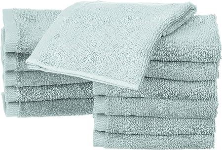 AmazonBasics - Toallas de algodón, 12 unidades, Azul hielo ...