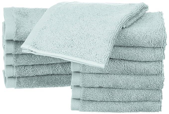 AmazonBasics - Toallas de algodón, 12 unidades, Azul hielo: Amazon.es: Hogar