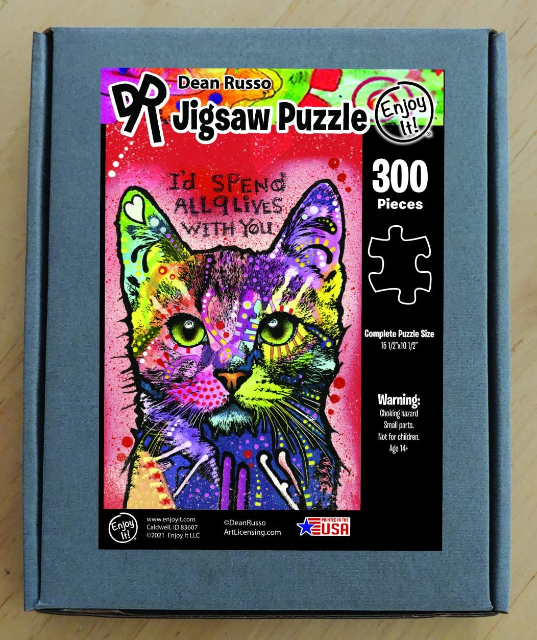 300 Piece Jigsaw Puzzle for Kids /& Adults Enjoy it Cat Puzzle Featuring Pop Art of Dean Russo
