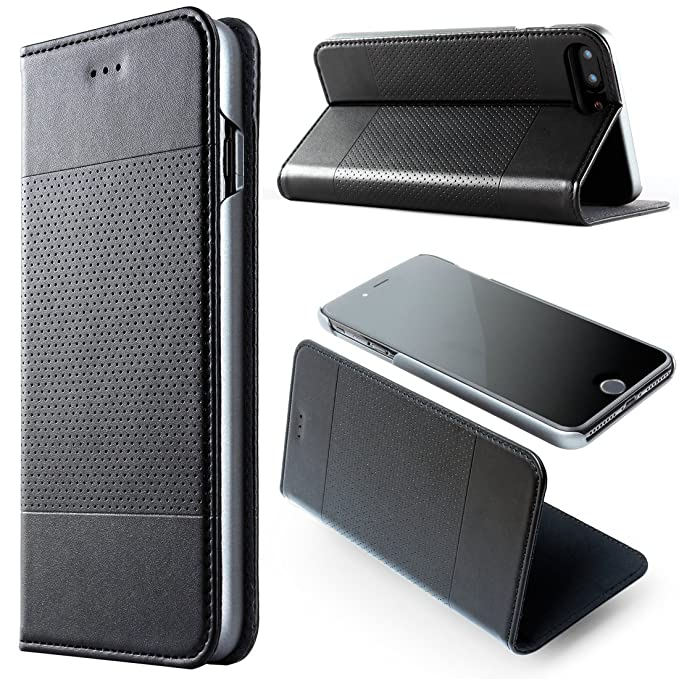 sports shoes c429f 5f591 iPhone 8 Plus Leather Case, iPhone 7 Plus Wallet Case Credit Card Slots  Funtiton with Screen Protector for Men Black iPhone 7 Plus Folio Case