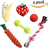 SCENEREAL Best Small Dog Chew Toys - Cute Durable Stuffed Plush Rope Puppy Toys for Tiny Dogs Cats 6 Pcs