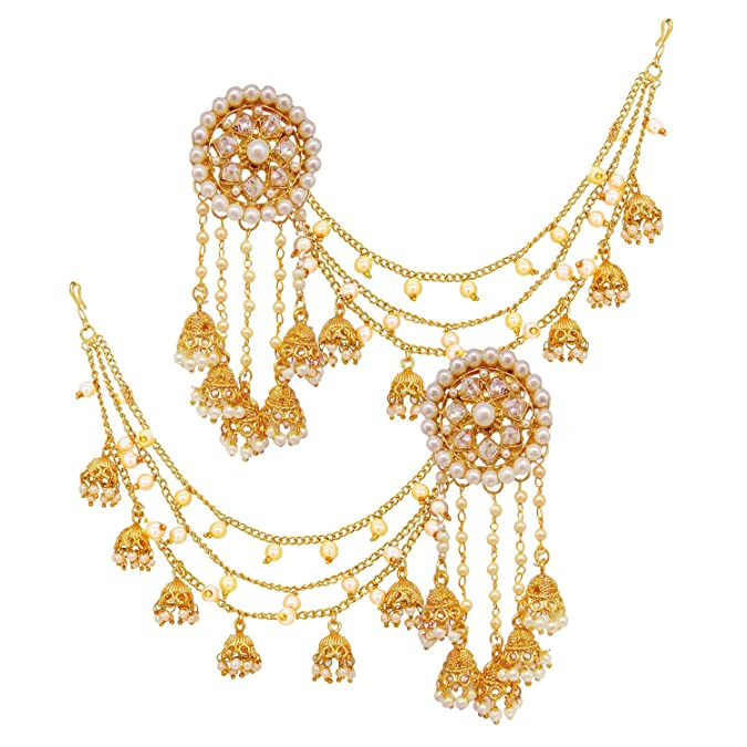 15c93f917a36 Buy Ameeyo One Gram Gold Plated Devsena Bahubali earrings Jhumki jhumka  chain for Women Online at Low Prices in India