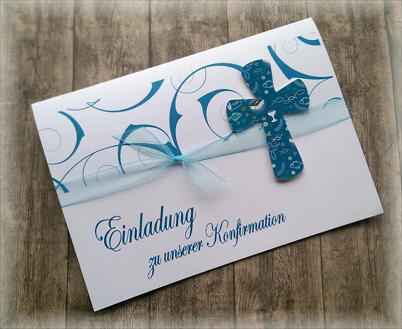 Einladung Einladungskarte Kommunion Konfirmation Firmung Taufe Kreuz christliche Symbole petrol dunkel türkis