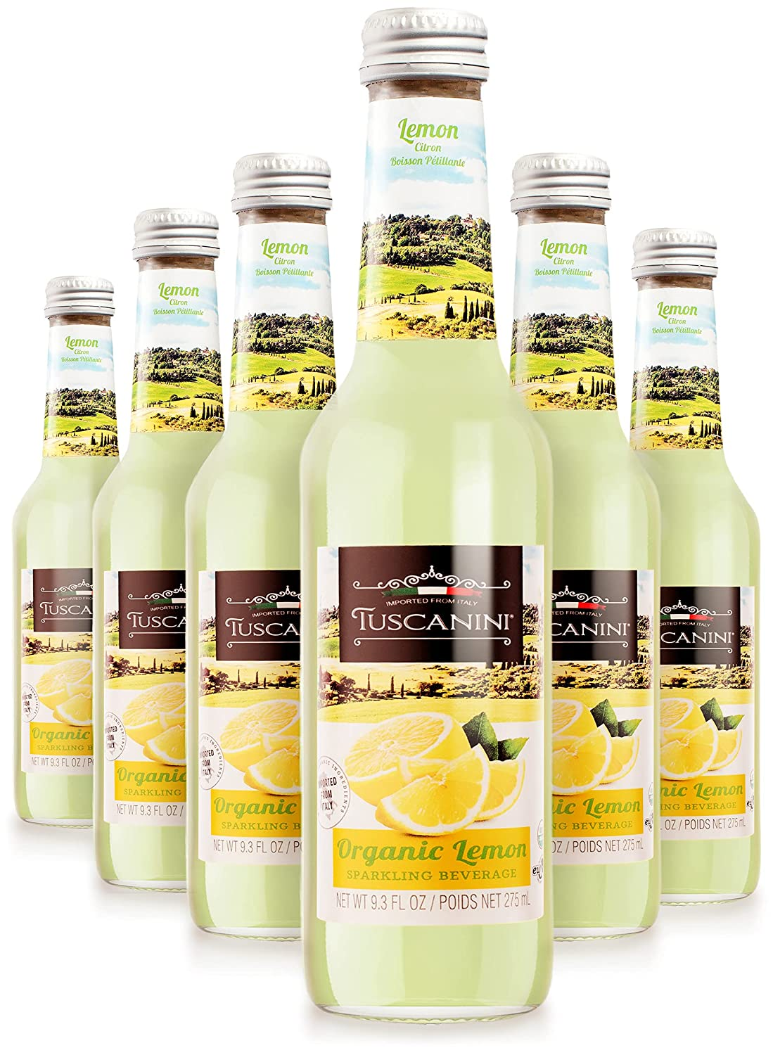 Tuscanini Organic Cold Pressed Sparkling Lemon Soda (6 Pack) Contains 16% Real Juice! No Food Coloring or Artificial Flavors, Product of Italy