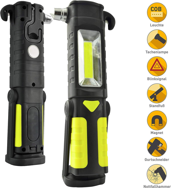 Werkstattlampe mit Notfallhammer Gurtschneider und Haken 3W COB Nothammer X4-LIFE Arbeitsleuchte LED Batterie magnetisch 200 lm