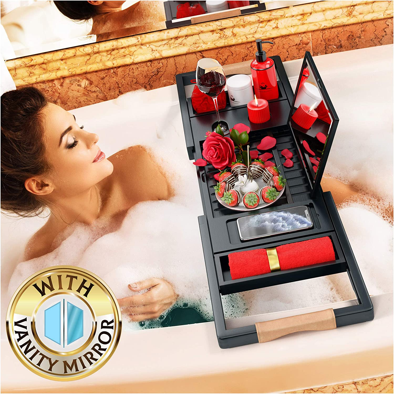 Your Majesty Premium Black Bathtub Tray [with Mirror] 1-2 Adults Expandable Bamboo Bath Tray, Beautiful Gift Box, Fits Any Tub - Holds Book, Wine, Phone, Ipad, Laptop