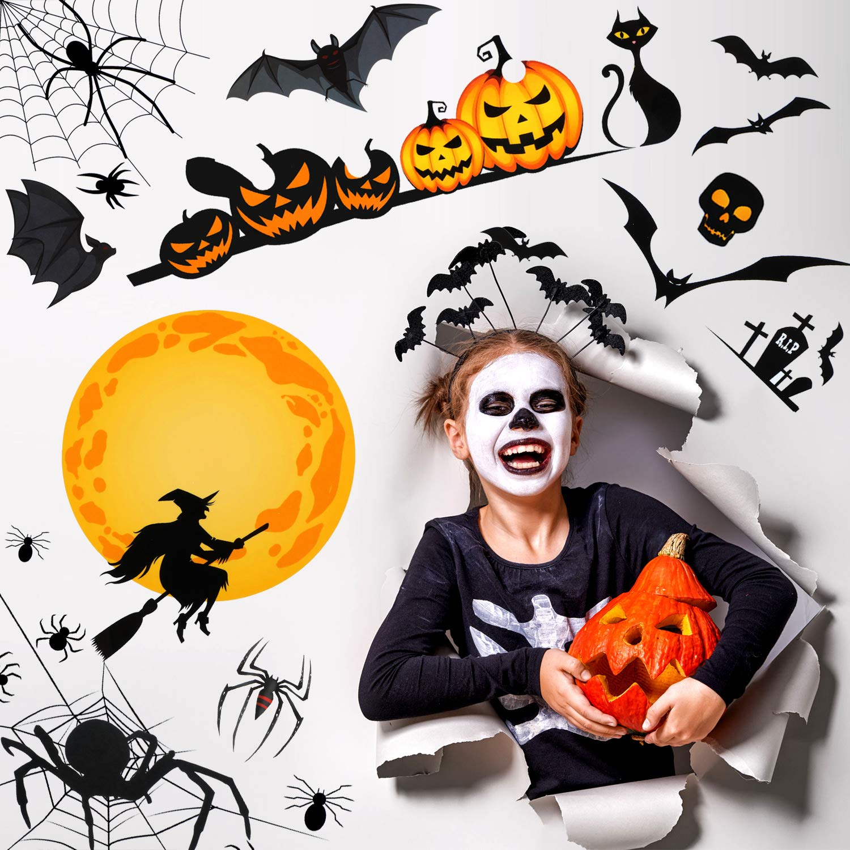 8 Sheets 160 Pieces Halloween Window Sticker Set Bat Spider Pumpkin Design Window Decals Window Clings Window Decals Sticker Wall Sticker for Halloween Spooky Party Decorations