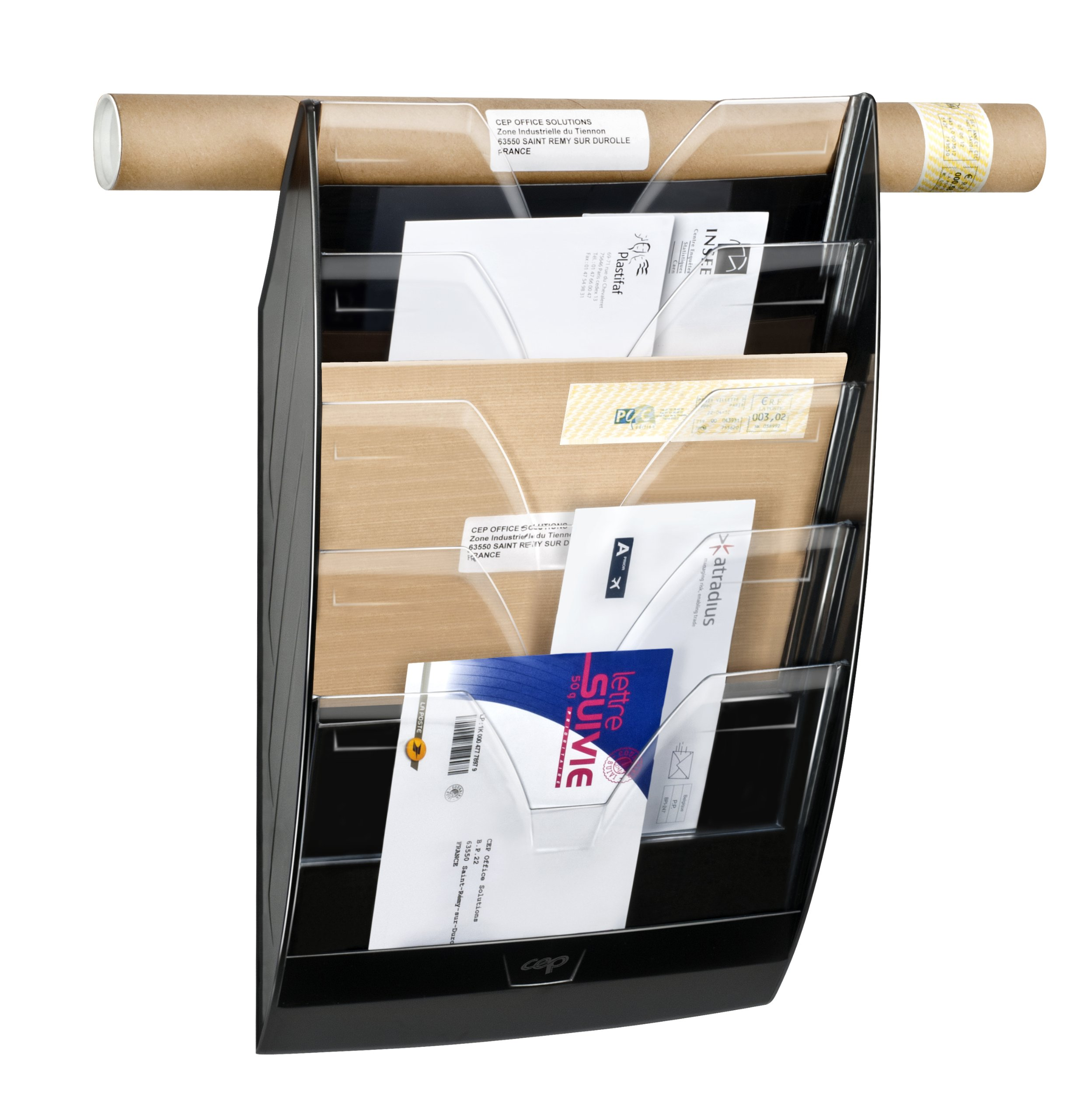 CEP Heavy-Duty 5-Section Wall File, 13.9 x 22.9 x 4.9 Inches, Black (CEP1540011)