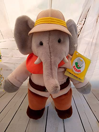 Amazon Com Vintage Babar Plush Stuffed Elephant 14 From 1989