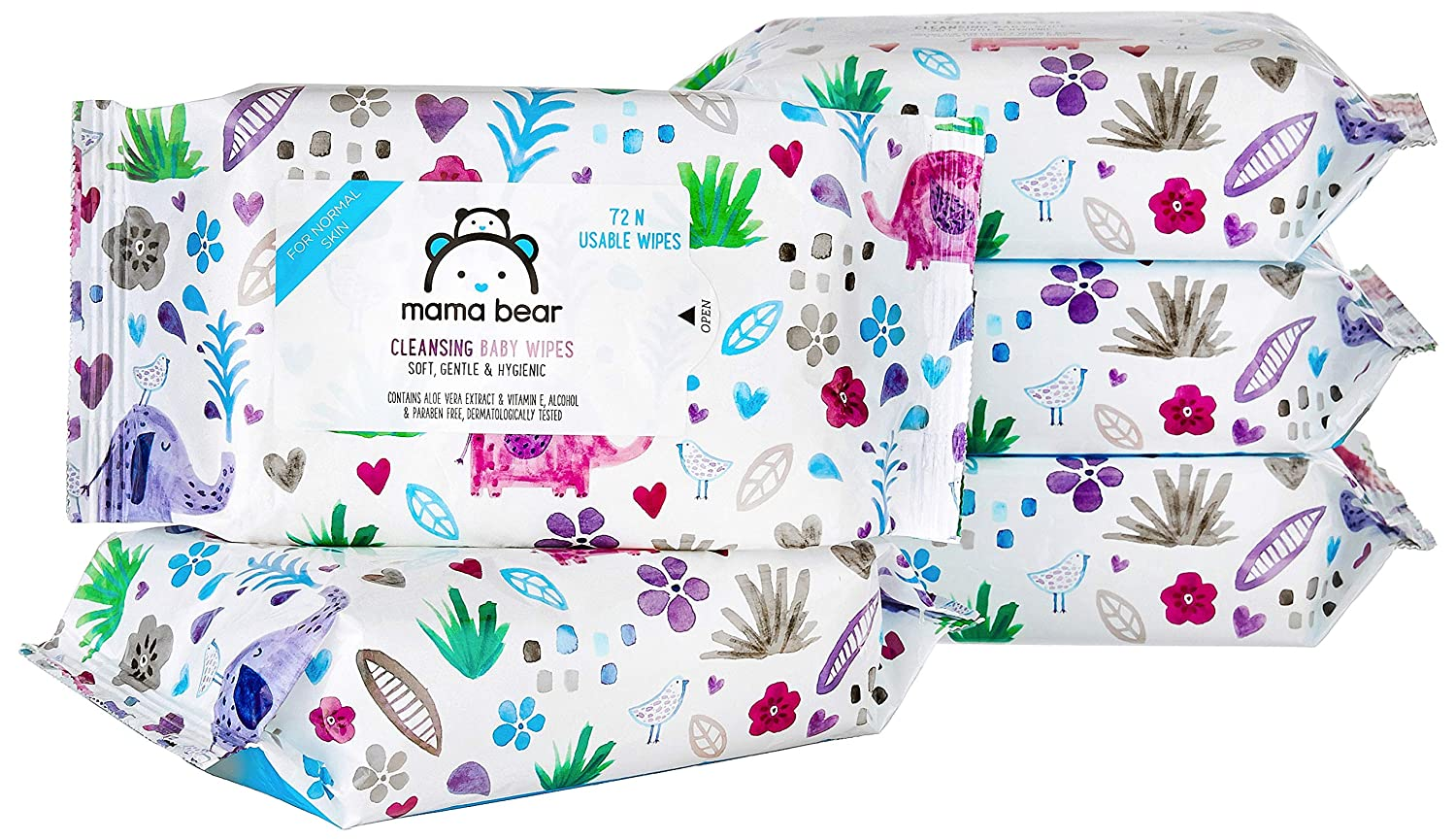 Amazon Brand - Mama Bear Cleansing Baby Wet Wipes - 72