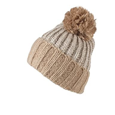 HAT153-Off-white Thick Knitted Woolly Hat with Beige bobble and hem ... 706f43290a7