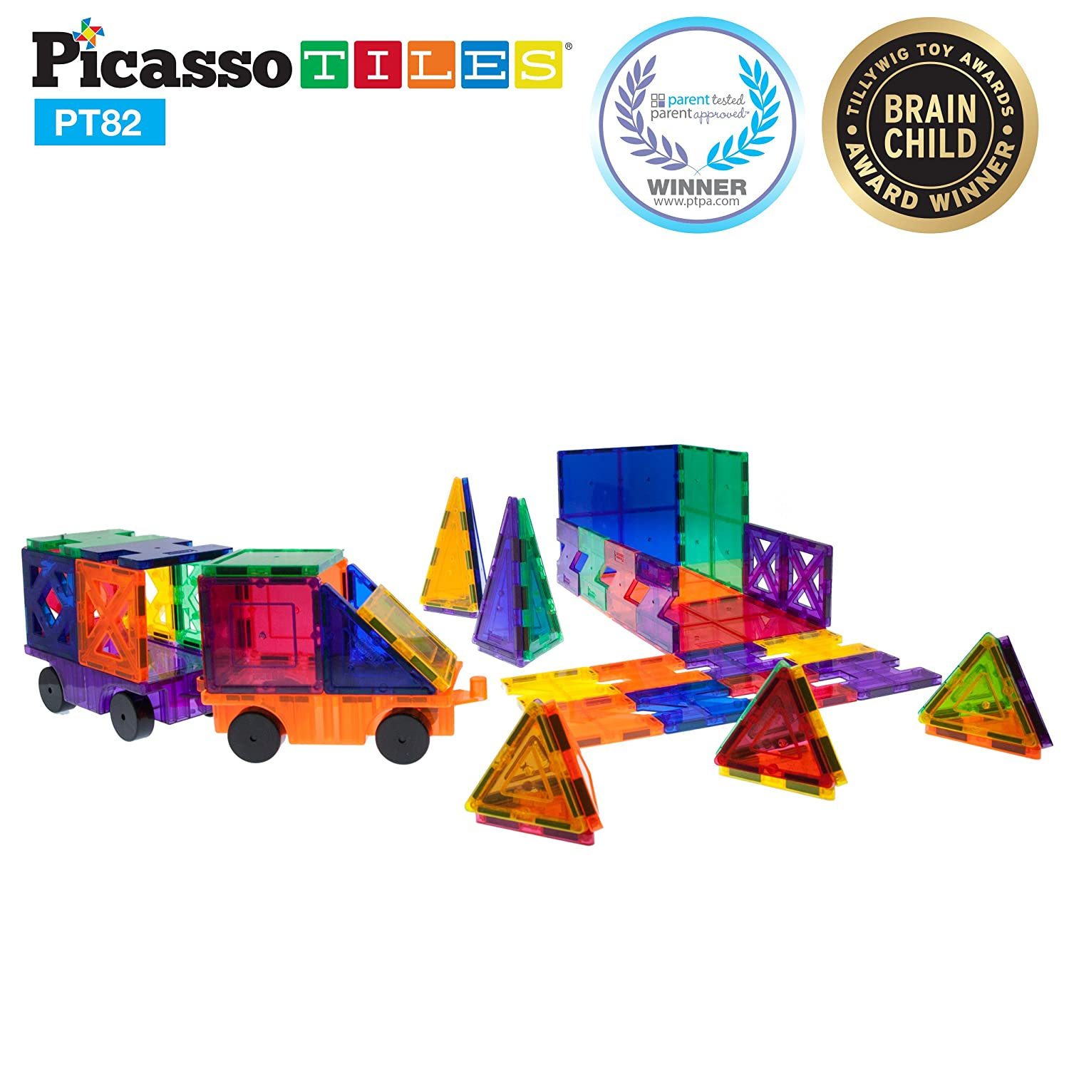 PicassoTiles 82 Piece Building Blocks 82pcs Creativity Kit 3D Building Construction Toy Set Clear Magnetic Stacking Block STEM Playboard Magnet Felt Tiles Novelty Game, Creativity Beyond Imagination Review