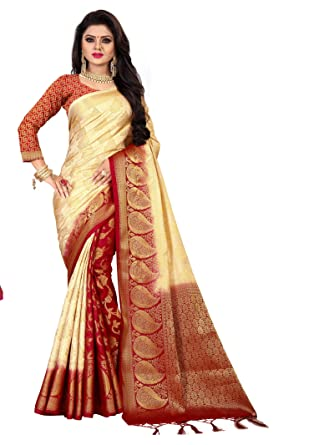 e753a9667c Nirja Creation Women Beige Color Silk Banarasi Saree: Amazon.in: Clothing &  Accessories