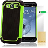 32nd ShockProof Series - Dual-Layer Shock and Kids Proof Case Cover for Samsung Galaxy S3, Heavy Duty Defender Style Case - Green