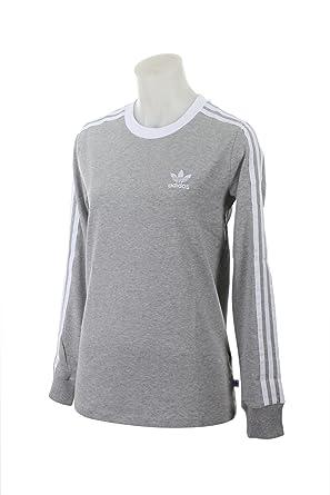 b75edf8cc adidas Womens Originals Women's 3 Stripes Leggings BK5874 Long Sleeve Shirt  - Grey -