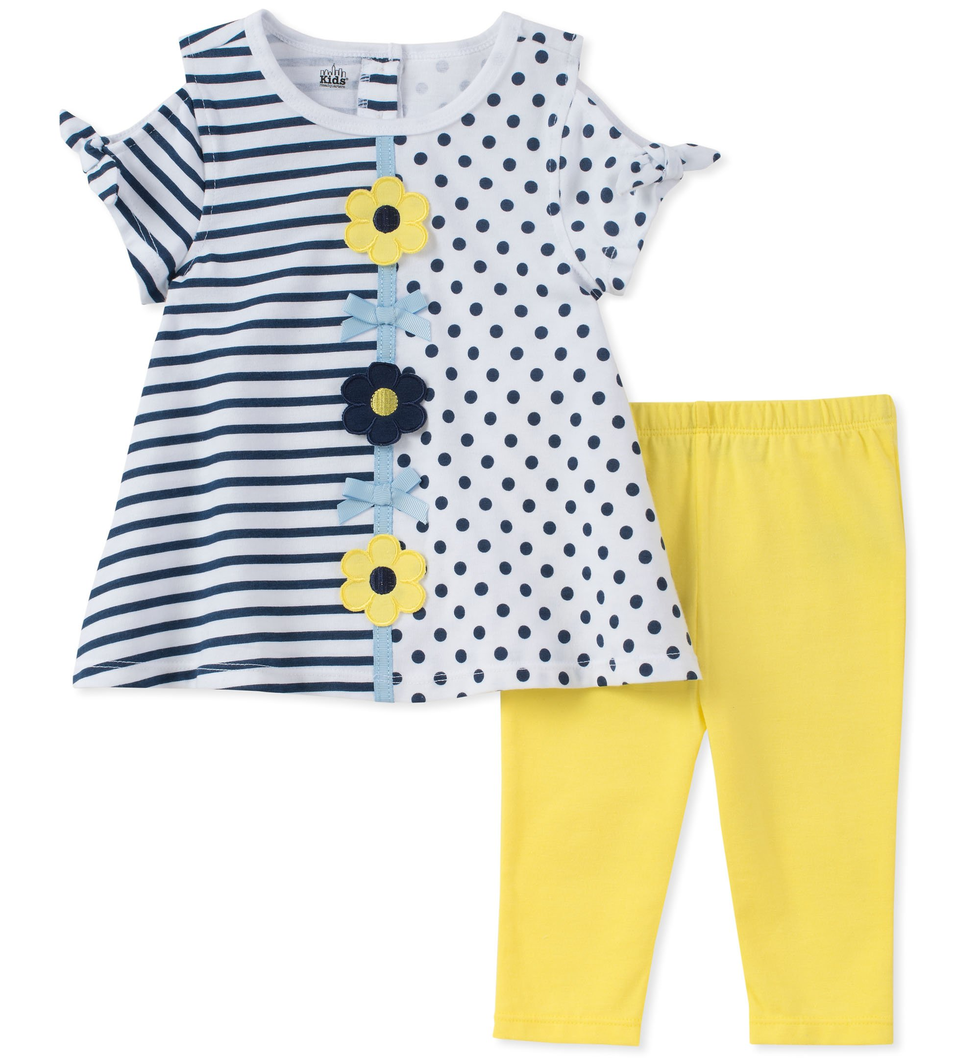 Kids Headquarters Toddler Girls' Tunic Set-Capsleeves, White/Blue/Yellow, 2T by Kids Headquarters (Image #1)