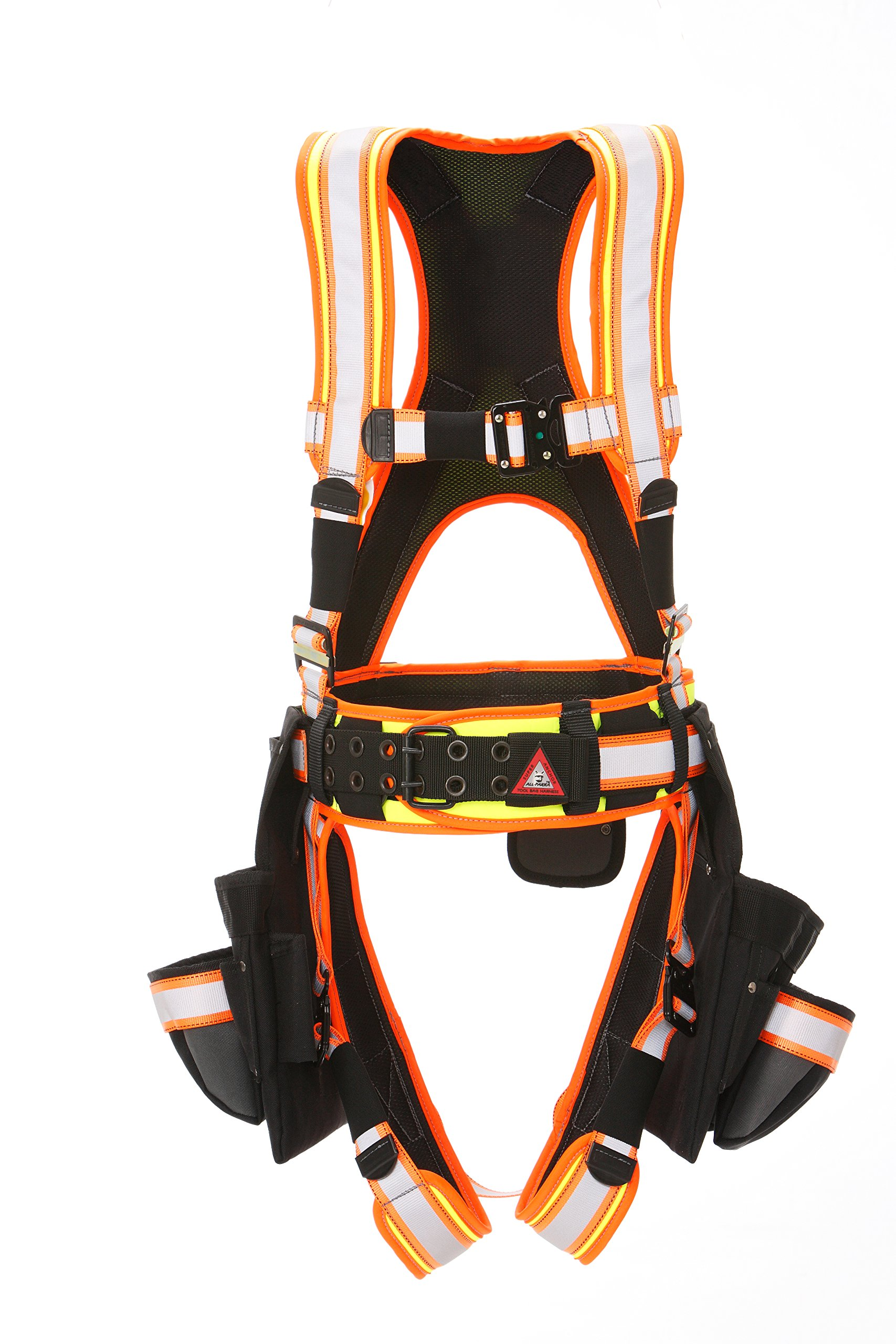 Super Anchor Safety 6161-L ANSI Class 1 Deluxe Full Body Harness plus All-Pakka Tool Bag Combo, Large, Ultra Viz