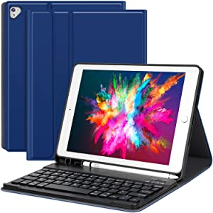 iPad case with Keyboard iPad 2018 (6th Gen)-2017 (5th Gen)-iPad Pro 9.7- iPad Air 2 & 1, Detachable Wireless Bluetooth Keyboard with Pencil Holder for Apple Tablet-Auto Sleep/Awake (Blue)