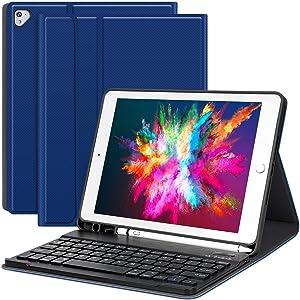 iPad case with Keyboard iPad 2018 (6th Gen)-2017 (5th Gen)-iPad Pro 9.7- iPad Air 2 & 1, Detachable Wireless Bluetooth Keyboard with Pencil Holder for Apple Tablet-Auto Sleep/Awake (Blue)