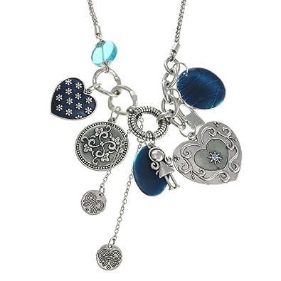 Behave Ausgefallene Blaue Halskette Silber Farbig Mit Vielen