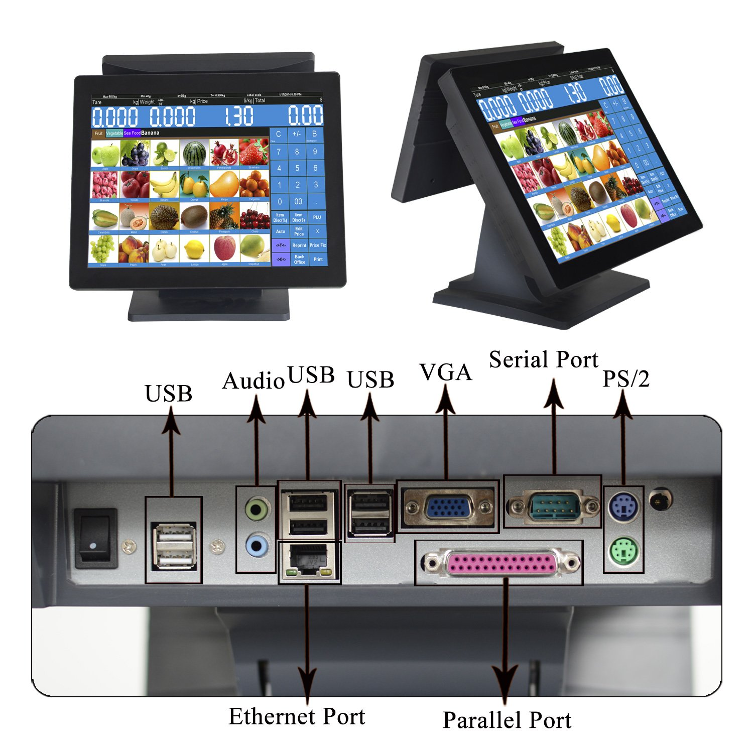 Amazon.com: ZHONGJI 15 Inch Double All in One Touch Screen Pos System/Pos Terminal/Cash Register, for Restaurant, Coffee Shop, Bubble Tea Shop, Bakery …