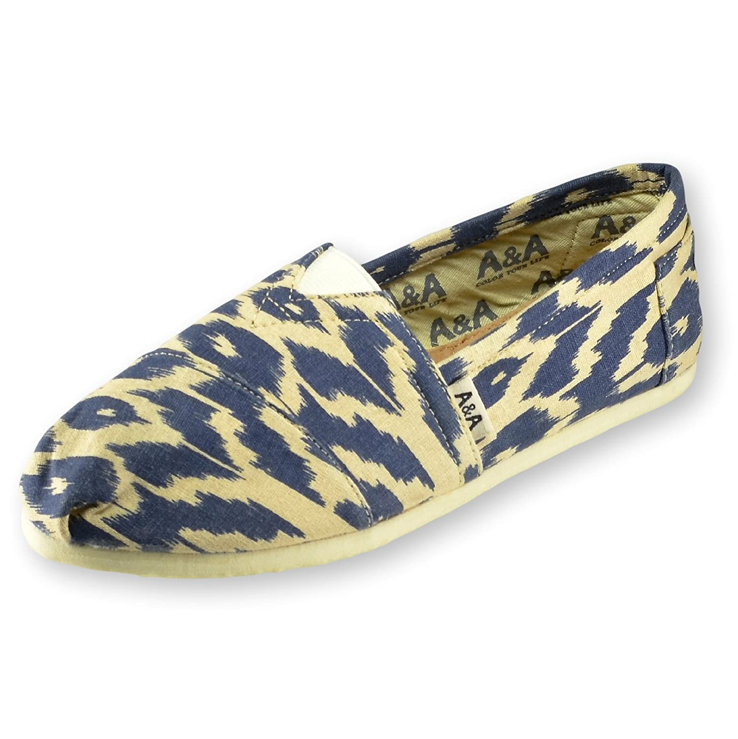 A&A Women Blue Slip-on Casual Flats Canvas Shoes Alpargatas (Ikat)
