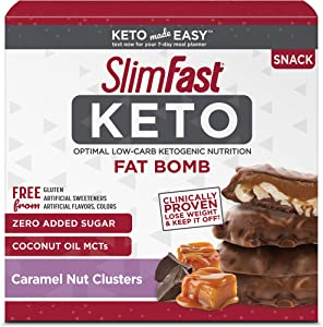 SlimFast Keto Fat Bomb Snacks - Chocolate Caramel Nut Clusters - 20g - 14 Count - Pantry Friendly