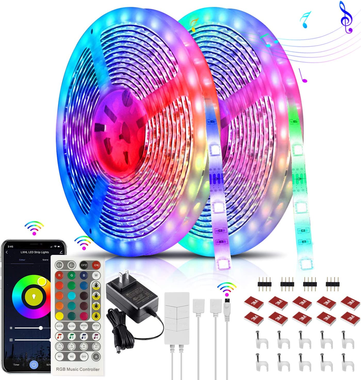 32.8ft LED Strip Lights Works with Alexa, Google Home with 7 Scenes Mode, Bluetooth, App Control, RGB Color LED Lights, Waterproof Smart Alexa LED Strip for Home, Kitchen, TV, Party (2x16.4Ft)