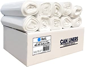 Reli. Trash Bags, 40-45 Gallon (250 Count) (Clear) - Regular Thickness - Easy Grab Rolls - Can Liners, Garbage Bags with 40 Gallon (40 Gal) to 45 Gallon (45 Gal) Capacity