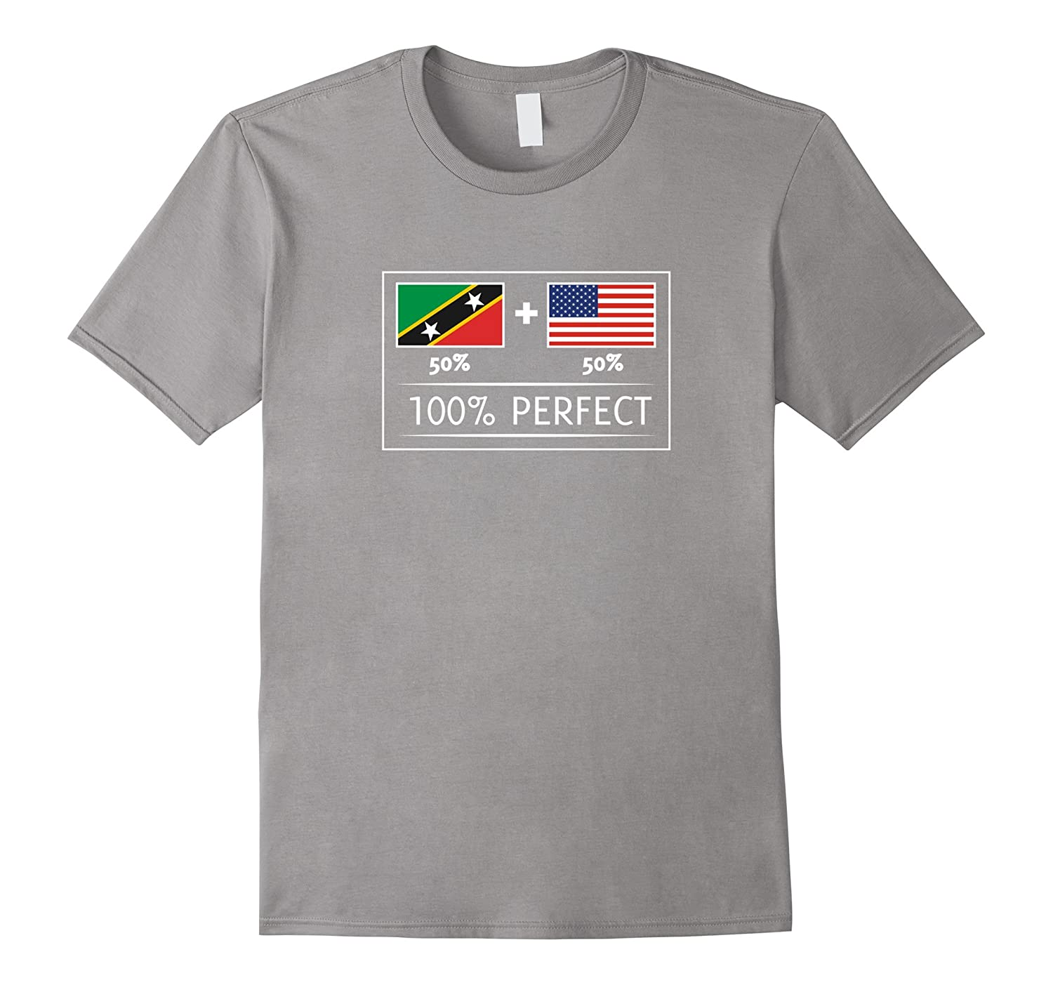 50% SAINT KITTS AND NEVIS 50% USA Flags 100% Perfect T shirt-Art