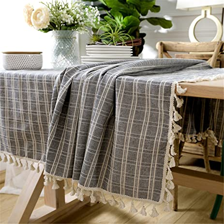Ethomes Grey Cotton Linen Lace Checked Rectangle Tbale Cover Plaid  Tablecloth For Home Dining Wedding Kitchen