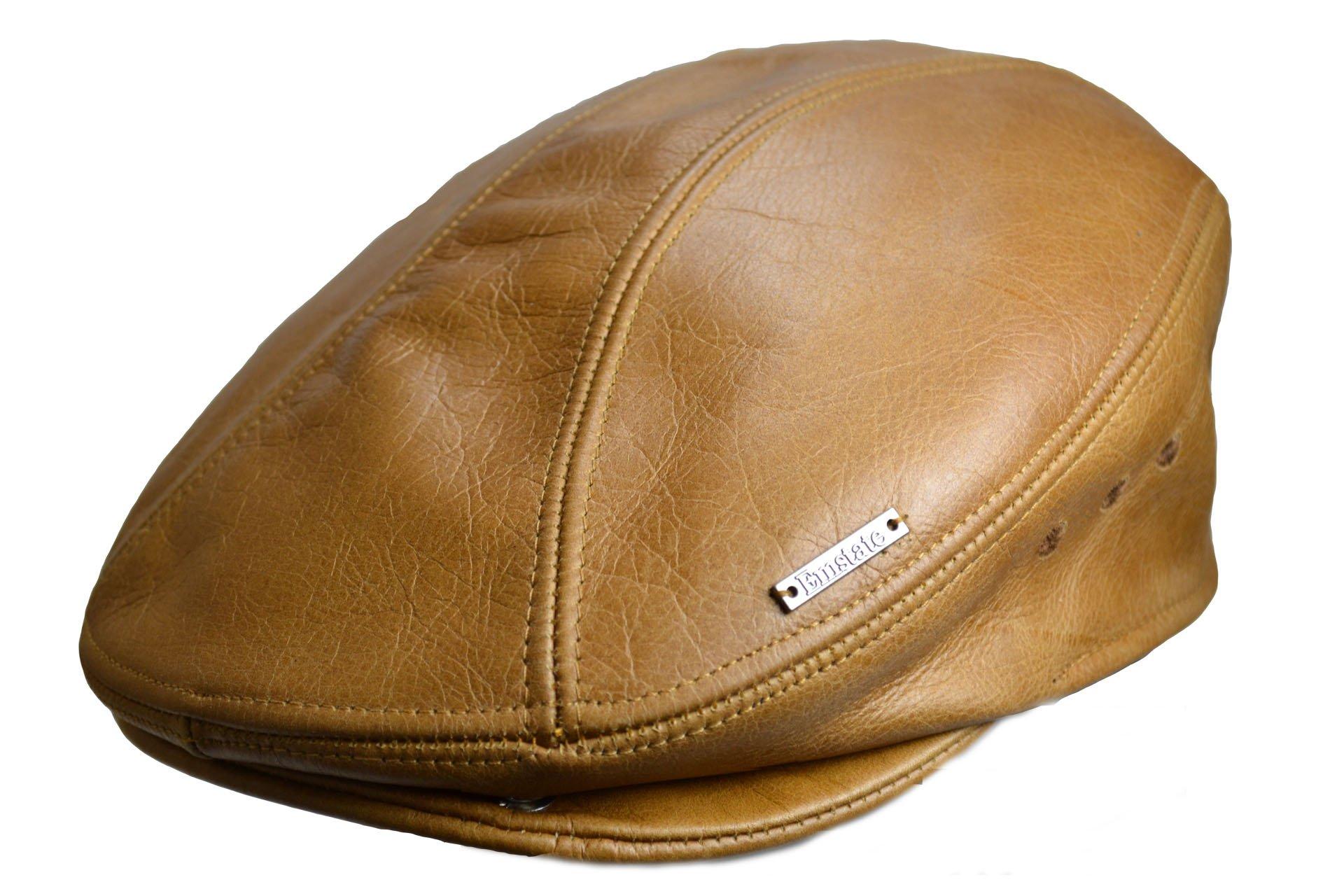 Emstate Premium Vintage Leather Hat (www.emstatehats.com) (L(7 1/4'')/XL(7 3/8''), Khaki)