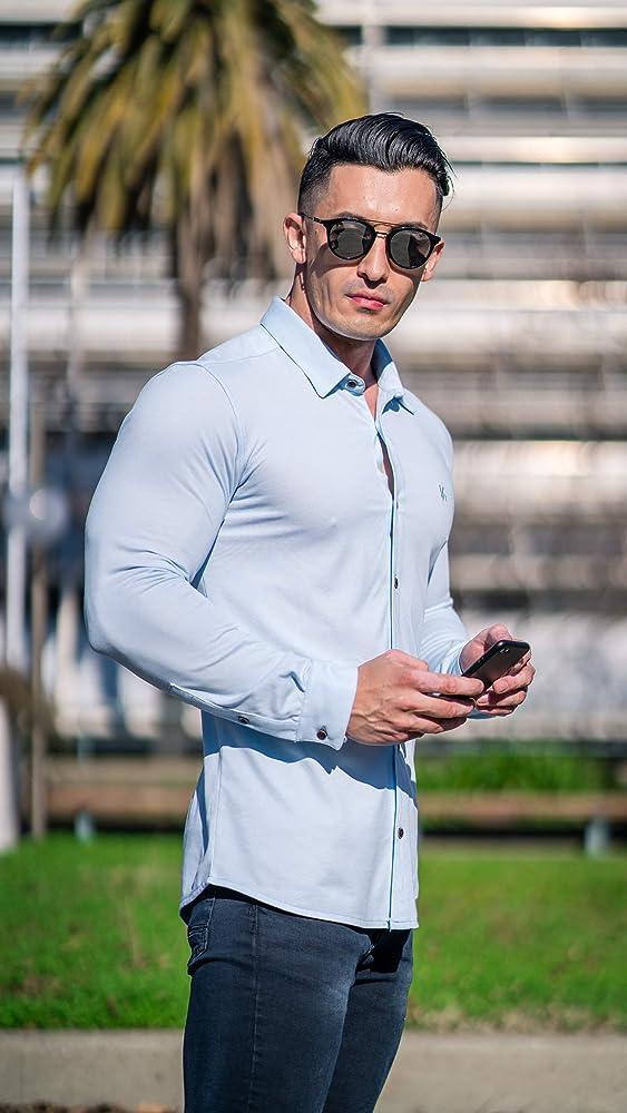 SportsX Mens Short Sleeve Silm Fit Simple Gentleman Bussiness Work Shirt