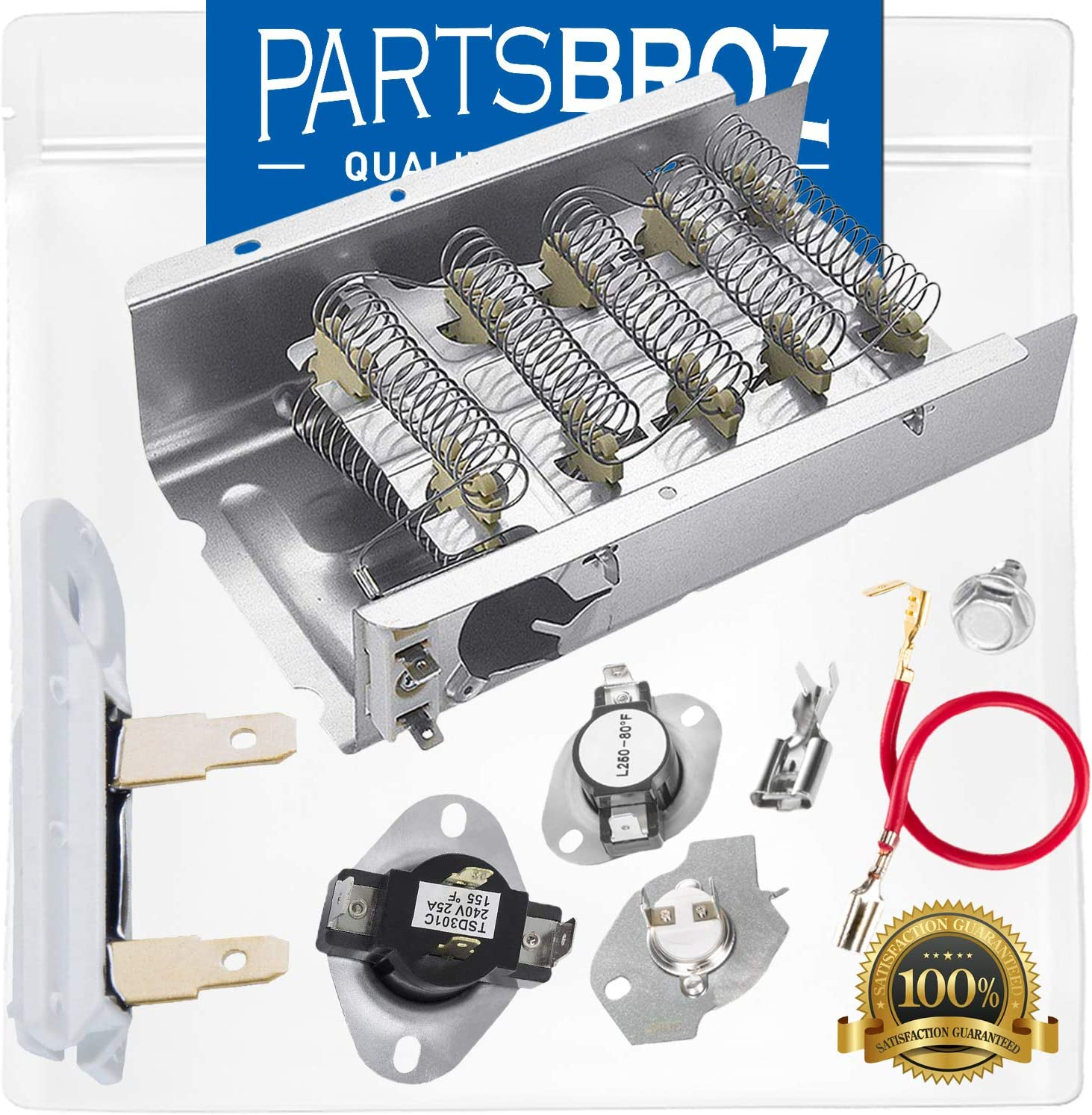 279838 Heating Element & 279816 Thermal Cut-Off Kit & 3392519 Thermal Fuse & 3387134 Cycling Thermostat by PartsBroz - Compatible with Whirlpool Dryers - Replaces 2438, 279838A, 279838VP, 3398063