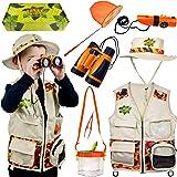 Safari Kidz Outdoor Adventure Set - Perfect Safari, Hunting, Park Ranger Costume with Vest, Hat, Binoculars, Bug Net, Bug Container, Whistle, Flashlight, Magnifying Glass, Tweezers