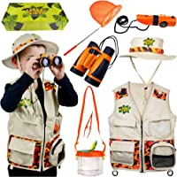 Safari Kidz Outdoor Adventure Set. Perfect Safari, Halloween, Hunting, Park Ranger Costume with Vest, Hat, Binoculars…